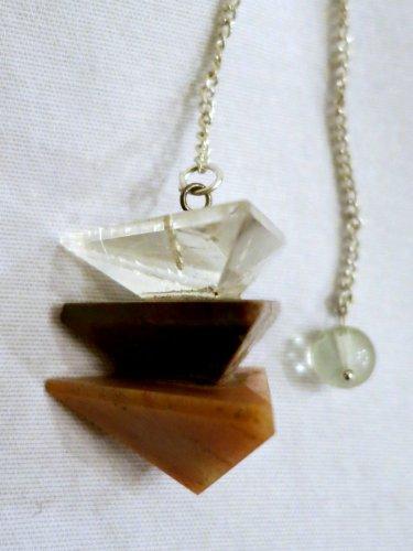 Clear Quartz- Red Jasper- Orange Jasper Pyramid Pendulum