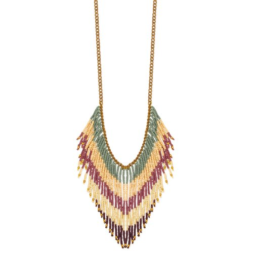 ZAD Pastel Multi-Beaded Tribal Fashion Necklace on Antique Gold Chain