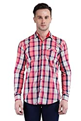 BRAVEZI Men's Red Checkered Casual Slim Fit Shirt