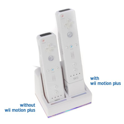 GTMax Remote Control Dual Charging Dock Station with 2 Battery Packs (2800mAh) for Nintendo Wii