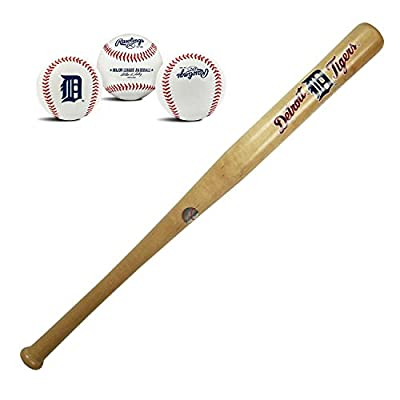 Detroit Tigers MLB Natural Wood Mini Stadium 18in Baseball Bat and Ball Team Logo Collectors Gift Set Bundle Pack by Rawlings and Coopersburg Sports