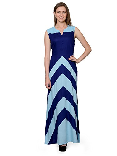 Patrorna-Ocean-and-Navy-Bllue-Natural-Fabric-Full-Length-Dress