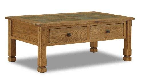 Spectacular Arizona Rustic Oak Coffee Table W Slate Tiles Top
