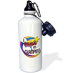 3dRose wb_166525_1 I Believe in Glamping Cute Believer Design Sports Water Bottle, 21 oz, White