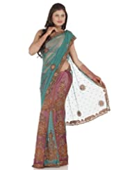 Chhabra555 Green Net One Minute Saree - B00J4RP2BC