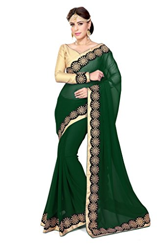 Sourbh Sarees Dark Green Faux Georgette Lace Work Blouse Saree for Women Party Wear