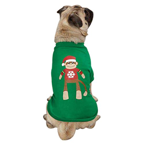 East Side Collection Polyester/Cotton Holiday Monkey Business Dog Tee, Medium