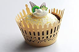 Kuke 24 pcs Garden Fence Laser Cut Cupcake Wrappers Cupcake Liners Muffin Container for Baby Shower Baby Birthday Christening or Wedding Party Cupcake Decoartion (Yellow)