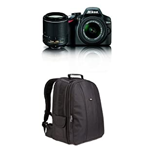 Nikon D3200 DX-format DSLR Kit w/ 18-55mm and 55-200mm VR Lenses + Bag