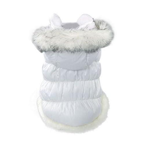 (ラボーグ)La Vogue ペット 防寒服 犬用 綿入れ ドッグウェア パーカー ダウンジャケット ワンちゃん 冬 二脚の服 4色 XS-2XL 6サイズ (Cホワイト, M)