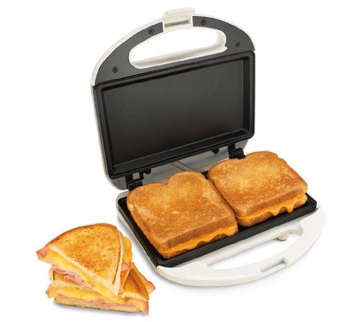 New Nonstick 2 Sided 4 Slice Black Electric Sandwich Maker