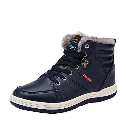 AFFINEST High-top Più velluto Stivali Donna Uomo Tooling Stivali in Vera Pelle Invernali scarpe sneakers?blu,40)