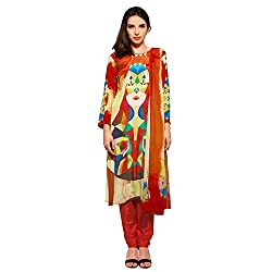 Bhelpuri Women Red and Yellow Crepe Dress Material