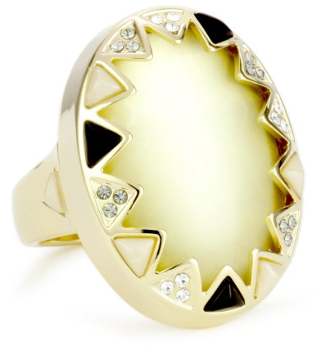 House of Harlow 1960 Gold-Plated Resin Stone and Crystal Ring, Size 6