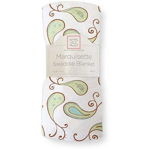 Swaddledesigns Marquisette Swaddling Blanket, Triplets Paisley, Kiwi