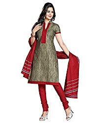 Drapes Women's Cotton Printed Unstitched Dress Material (Grey)