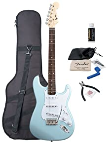Squier by Fender Bullet Strat Electric Guitar with Tremolo, Rosewood Fretboard Bundle with Fender Gig Bag and Maintenance Pack by Fender