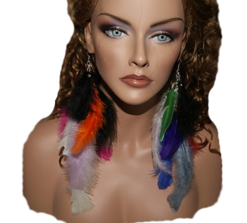 Long Feather Earring Multi Colored2 10 Inc