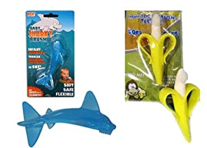 Baby banana tooth brush and sharky the training tooth brush gift set combo