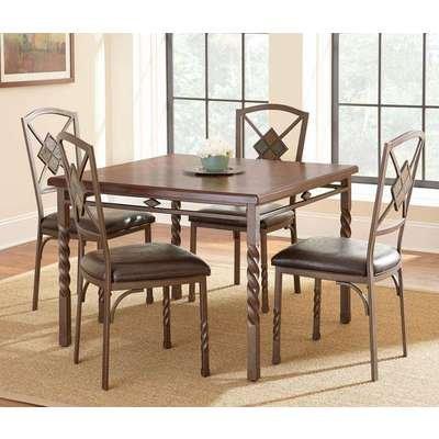 Steve Silver Annabella 5 Piece Dining Room Set in Medium Oak