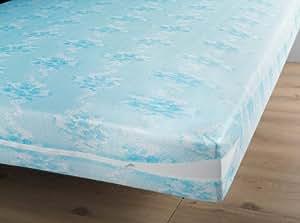 Douceur d'Intérieur 1640747 Rénove Matelas Polyester Maille Extensible Bleu 190 x 90 x 190 cm