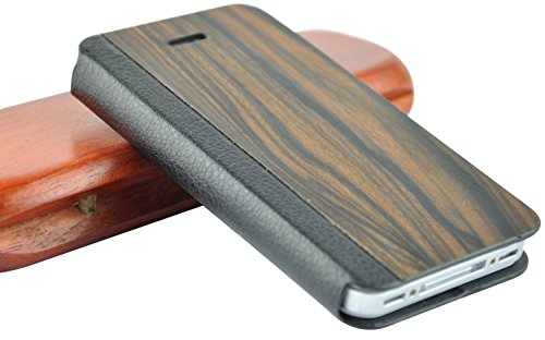 SunSmart Premium Quality wood leather stand case cover for the Apple iPhone 4/4S - Dark Brown (Wood Iphone 4 Case compare prices)