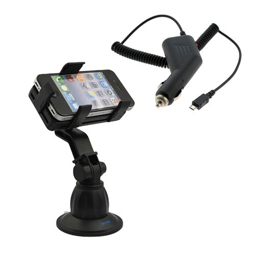 iKross Car Windshield Mount Holder + Micro USB Car Charger for Samsung GALAXY S2 / SII I9100, Epic 4G, Galaxy S 4G /Vibrant Plus 4G, Galaxy S II SGH-i777; BlackBerry Bold 9900, Bold 9930 (Montana), Curve 8530, Curve 3G 9300