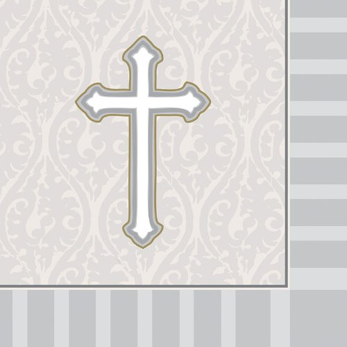 Creative Converting Devotion Cross Beverage Napkins, Silver, 16 Count front-566693