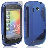 HTC Explorer A310e S Line Silicone Gel TPU Blue Transparent Case Cover Free Screen Protector- Part of JJOnlineStore Accessories