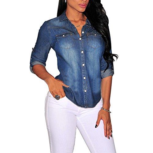 Fashion Classic Eleery da donna a maniche lunghe, da donna, stile Casual, con Top, blusa arrotolato-Jeans Denim Jacket blu scuro UK 10
