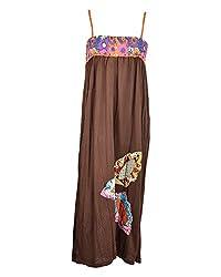 Beautiful Clothes Women's Regular Fit Dress(BCS 33_M,Brown,M )