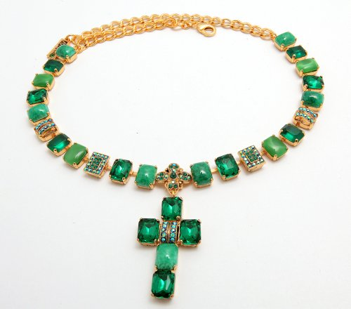 Irresistible Necklace from 'Deep Forest' by Israeli Amaro Jewelry Studio with Cross Pendant; All Set with Rectangle Cut Stones: Jadeite, Amazonite, Swarovski Crystals; 24K Yellow Gold Plated
