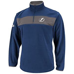 NHL Mens Tampa Bay Lightning Blue Colbalt/Storm Gray Long Sleeve 1/4 Zip Micro Chiller By Majestic (Blue Colbalt/Storm Gray, Small)
