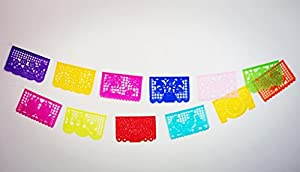 """Beautiful Mexican TISSUE """"Papel Picado"""" Banner - 12 TISSUE PANELS in Medium Size / Multi-Colored - Designs and Colors as Pictured by Paper Full of Wishes by Paper Full of Wishes"""