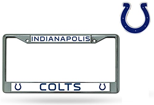 Official National Football League Fan Shop Licensed NFL Shop Authentic Chrome License Plate Frame and Colored Auto Emblem (Indianapolis Colts) (Colts Auto Emblem compare prices)