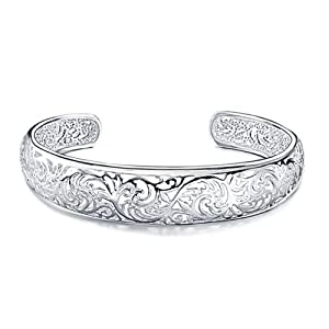Atlas Jewels Women's Sterling Silver Filigree Floral Fashion Cuff Bangle Bracelet Jewelry
