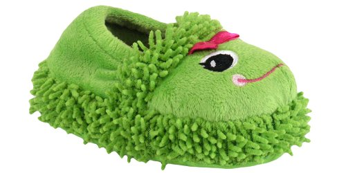 Capelli New York Moccasin With Lovable Frog & Bow Toddler Girls Indoor Slipper Green Combo 8/9
