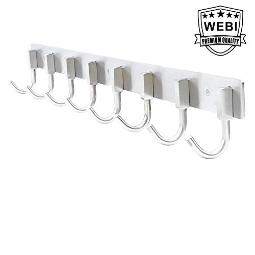 Coat Hook, WEBI Heavy Duty SUS 304 Towel Rack Hanger Rail Bar with 8 Hooks, Brushed Finish, for Bedroom, Bathroom, Foyers, Hallways, Entryway, for Great Home, Office Storage & Organization,J-CF08 (8 Hook Coat Rack compare prices)
