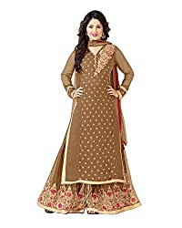 VIHA Beige Embroidered Pure Georgette Plazzo Suit