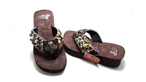 Justin Ladies Western Emily Jeweled Leopard Print Flip Flops Brown Size 5 New!