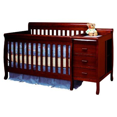 Mikaila Milano 3-In-1 Crib And Changer Combo - Cherry - Toddler Bed Day Bed Baby Furniture Children