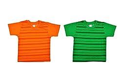 kandyfloss Boys' T-Shirts- Combo of 2 (MRHKF-BOYS'-TS-COMBO-1-2, Green and Orange, 5-6 Years)