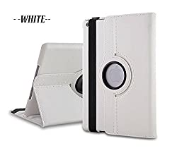 """TGKâ""""¢ 360 Degree Rotating Leather Smart Case Cover Stand for Apple iPad Mini 2 (White)"""