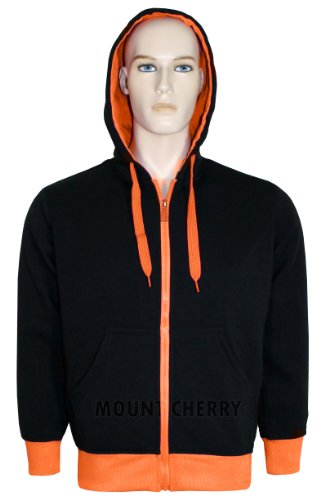 Mens Hoodies Quality Fleece Material Neon Coloured Borders and Zip Hooded Zip Jumper Sweatshirt (Large, Orange)