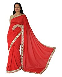 CDS Women's Faux Georgette Saree - (Red)