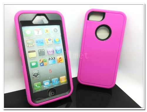 #!  Multi Color Iphone 5 5S Body Armor Silicone Hybrid Cove Hard Case, Three Layer Silicone PC Case Cover for iPhone 5 5S (Hot Pink+Black)