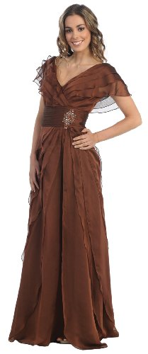 Mother Of The Bride Formal Evening Dress #831 (X-Large, Brown)