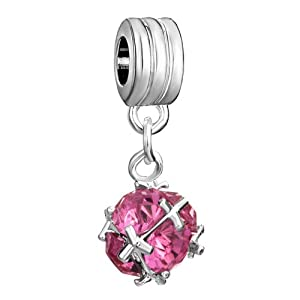 Pugster Shining Round Pink Crystal Dangle Spacer Bead Spacer Beads Fits Pandora Charm Bracelet