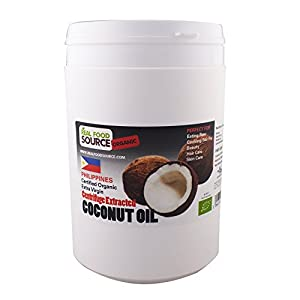 RealFoodSource Certified Organic Raw Extra Virgin Coconut Oil 1 Litre HDPE Tub (~920g)
