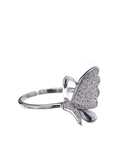 Silver One Ring Schmetterling Strass, rhodiniert one size